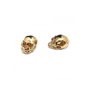 5% 14K GOLD PLATED SMALL SKULL BEAD W/HOLE 8 X 5 X 5MM