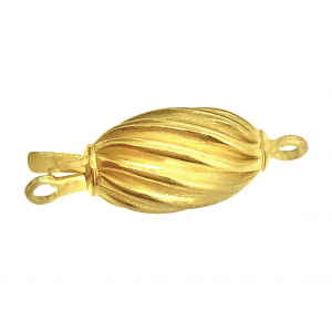 Sterling Silver 925 Yellow Gold Plated Twisted Corrugated Olive Pearl Clasp, 10 x 18 mm