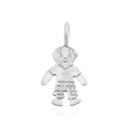 Sterling Silver 925 Boy Pendant 7.25mm x 11.3mm, ring 3.5mm