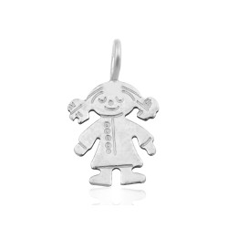Sterling Silver 925 Girl Pendant 8mm x 10.2mm, ring 3.5mm
