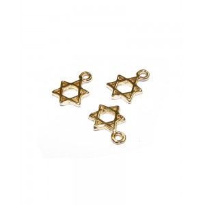 5% 14K Gold Plated Brass David Star Charm 7.4mm - 7.6mm Gold Plated Charms, Pendants