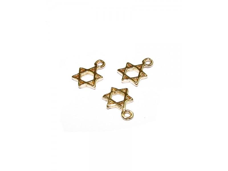 5% 14K Gold Plated Brass David Star Charm 7.4mm - 7.6mm