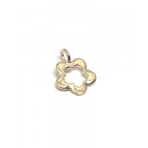 5% Gold Plated Flower Charm, 10 x 13mm, 1mm thickness