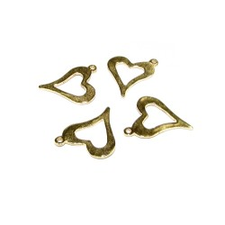 Gold Filled Hammered Heart Pendant, 12 x 14mm, 0.35mm thickness