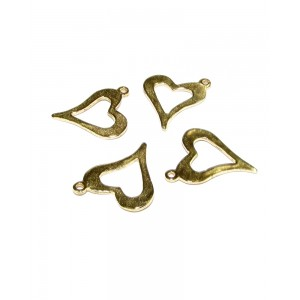 Deep Gold Plated small Heart Frame Charm 11mm