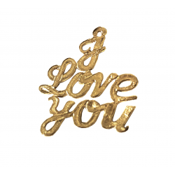 Gold Filled 'I Love You' Pendant, 19.5 x 21mm, 0.6mm thickness