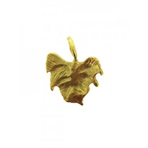 5% 14K Gold Plated Brass Fig Leaf Charm 10mm x 12.7mm