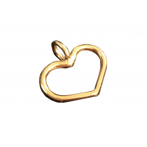 5% 14K Gold Plated Brass Heart Charm 10.3mm x 10.8mm