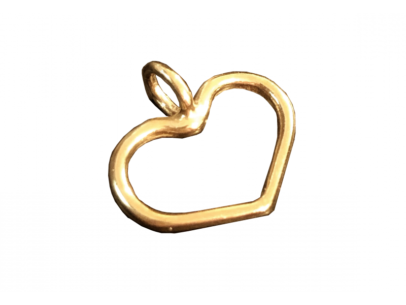 5% 14K Gold Plated Brass Heart Charm 10.3mm x 10.8mm Gold Plated Charms, Pendants