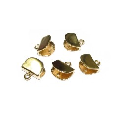 Gold Filled End Cap with ring 2.5mm, half moon, 7 x 9.5mm