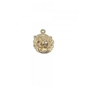 5% 14K Gold Plated Brass Lion Head, hollow, 9 x 11mm, jump ring 3mm