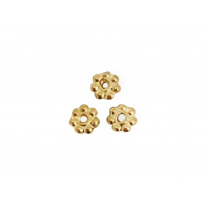 5% 14K Gold Plated Tiny Gold Flower Bead, outside 3mm, inside hole 1mm