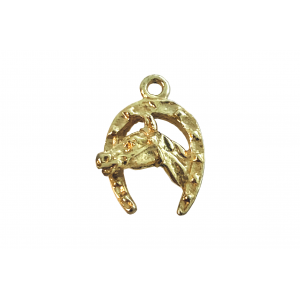 Gold Filled Horse Shoe with horse head Charm, 10 x 15mm Gold Filled Animals & Feathers