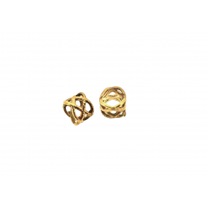 Brass 5% 14K Gold Plated Filigree Tube Bead 3.8mm x 4.7mm