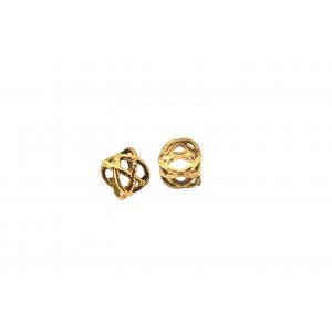 Brass 5% 14K Gold Plated Filigree Tube Bead 3.8mm x 4.7mm