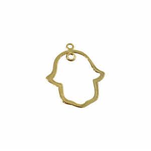 Gold plated Hamsa Pendant with two rings, 18 x 24mm, 0.8mm thickness