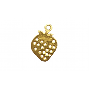 5% 14K Gold Plated Brass Strawberry Charm, 7.3 x 10mm, 0.5mm
