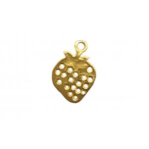 5% 14K Gold Plated Brass Strawberry Charm, 7.3 x 10mm, 0.5mm