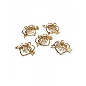 Gold Filled Heart with Arrow Charm, 12.4 x 15.4mm
