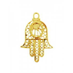 5% 14K Gold Plated Brass Hamsa Pendant 20mm x 30mm Gold Plated Charms, Pendants