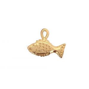 5% 14K DEEP GOLD PLATE FISH CHARM W/RING  11 X 9 X 1.3MM
