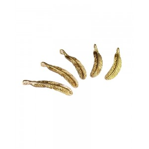 5% 14K GOLD PLATED FEATHER W/RING 28 X 6 X 1 MM