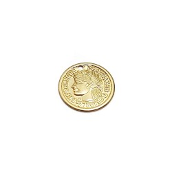 5% 14K Gold Plated Brass stamped mini 'Antique' Coin Charm 11.4mm