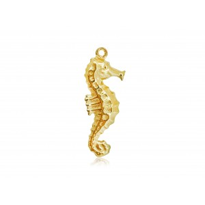 5% 14K GOLD PLATED SEAHORSE CHARM W/RING 25 X 10 X 3.5 MM