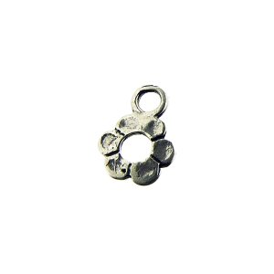 Sterling Silver 925 Flower Charm 7.5mm, ring 3.6mm