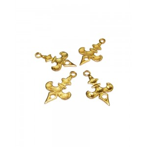 5% 14K Gold Plated Brass Fleur De Lis Pendant 12mm x 20mm