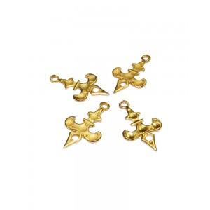 5% 14K Gold Plated Brass Fleur De Lis Pendant 12mm x 20mm Gold Plated Charms, Pendants