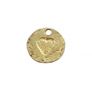 5% 14K Gold Plated Brass Textured Disc with Heart, 14mm, hole 2mm, 0.95mm thickness