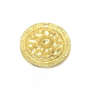 HAMMERED MEDALION 5% 14K GOLD PLATE