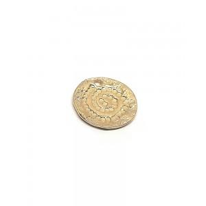 5% 14K Gold Plated Brass Textured Swirl Disc, 14mm