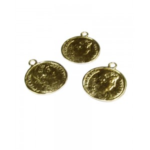 5% 14K Gold Plated Brass Coin with ring 16.5mm x 19mm Gold Plated Charms, Pendants
