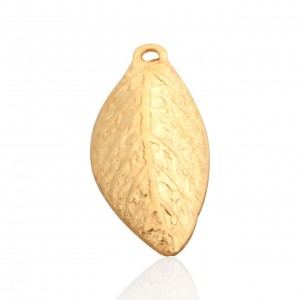 5% 14K GOLD PLATED CURVED LEAF CHARM, 6.8 x 13mm, 0.9mm thickness.