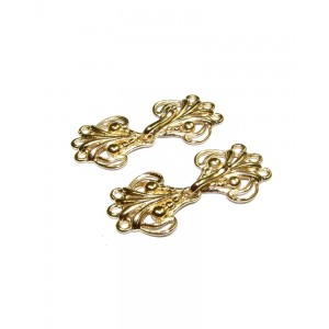 5% 14K Gold Plated Brass 3 Strand Filigree Hook Clasp Gold Plated Cufflinks, Tie Bars, Pins, Toggles, Clasps