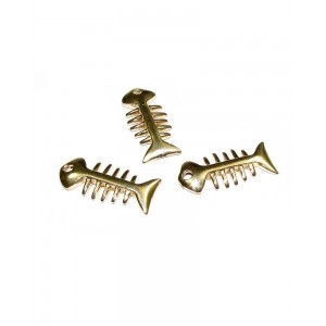 14K Gold Plated Fish Skeleton Pendant