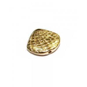 5% 14K GOLD PLATED TEXTURED ROSE PETAL SHELL BEAD 12 X 10.5 X 3MM