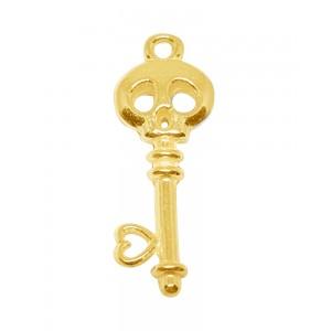 5% 14K Gold Plated Brass Skeleton Key Pendant 9mm x 25mm