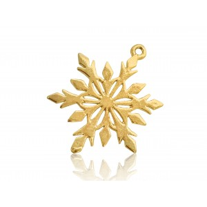 5% 14K GOLD PLATED SNOWFLAKE CHARM W/RING 20 X 15 X 1MM