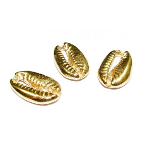 5% 14K GOLD PLATED COWRY SHELL 17.5 X 11 X 3MM