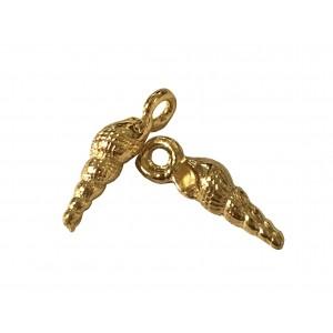 5% 14K Gold Plated Brass Mini Tulip Seashell Charm w/ ring 13mm