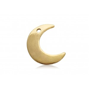 5% 14K GOLD PLATED MOON CHARM W/HOLE 14 X 11.2 X 0.9MM