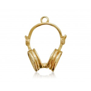 5% 14K GOLD PLATED LARGE HEADPHONES W/RING 27 X 20 X 7MM