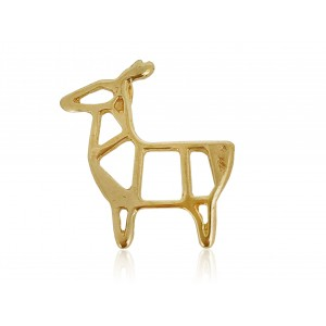 5% 14K GOLD PLATED DEER CHARM W/RING 16.9 X 5.7 X 1.25MM