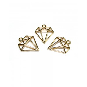 5% 14K GOLD PLATED DIAMOND OUTLINE CHARM W/RING 18.5 X 15.25 X 2.3 MM