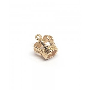 5% 14K GOLD PLATED SMALL CROWN CHARM W/RING 10 X 10 X 8.5MM