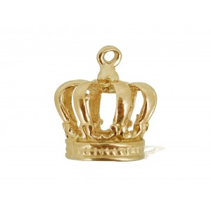 5% 14K GOLD PLATED LARGE CROWN CHARM W/RING 11.5 X 10 X 10MM