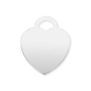 Sterling Silver 925 Flat Plain Heart Pendant 15.5mm x 20mm